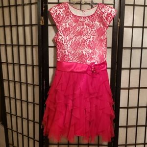 Jona Michelle Size 10 Red Ruffled Shirt Tale Dress